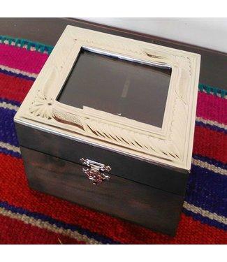 Wood and Alpaca Tea Box 4 Divisions