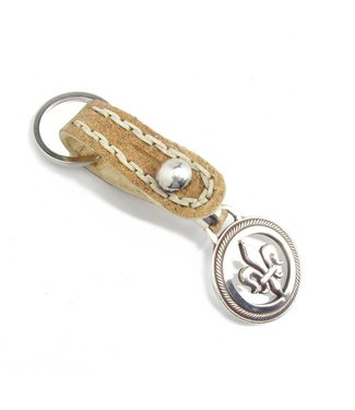 Los Robles Polo Time Key Chain Leather Cow And Alpaca Fleur De Lys