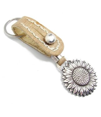 Los Robles Polo Time Key Chain Leather Cow And Alpaca Sunflower
