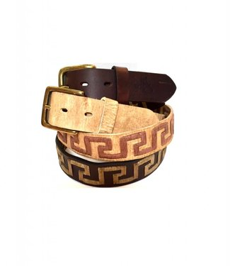 ''Greek Key'' 100% Argentine Leather Embroidered Polo Belt with Waxed Threads