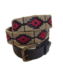 ''Rosario'' 100% Argentine Leather Embroidered Polo Belt