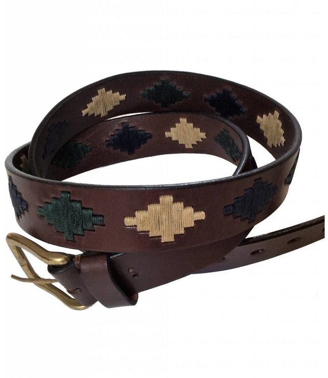 ''Lujan'' 100% Argentine Leather Embroidered Polo Belt