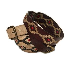 ''Cardo'' 100% Argentine Leather Embroidered Polo Belt