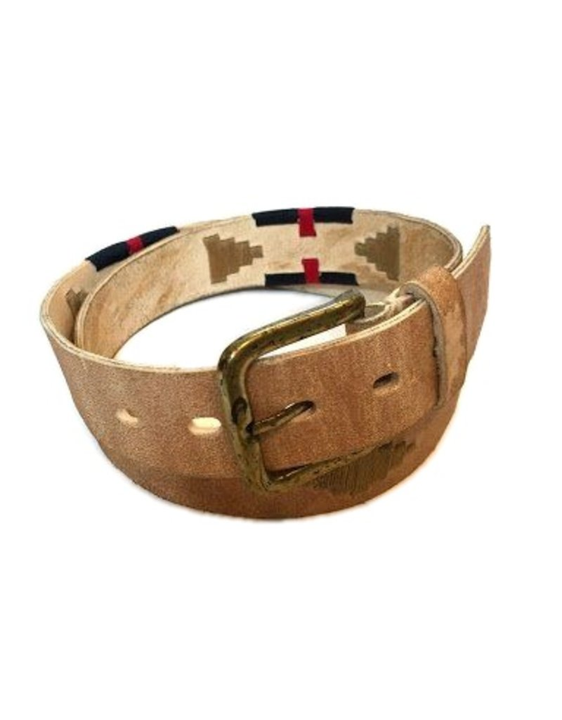 ''Bravo'' 100% Argentine Leather Embroidered Polo Belt with Waxed Threads