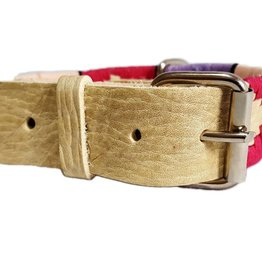 Dog Rawhide Leather Embroidered Wax Thread Collar