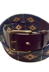 ''Merlo'' 100% Argentine Leather Embroidered Polo Belt with Waxed Threads