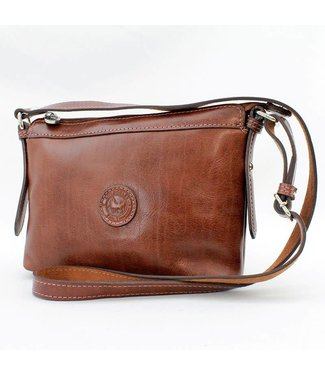Los Robles Polo Time Leather Shoulder Bag With Long Strap Brown