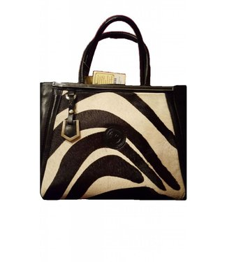 Los Robles Polo Time Hide Leather Handbag Black/White