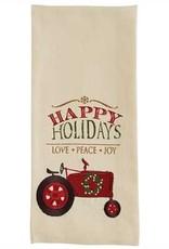 Happy Holidays Tractor Dishtowel