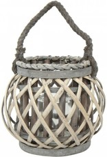 Small Willow Lantern with Rope Handle - Grey