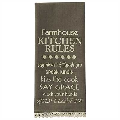 Farmhouse Kitchen Rules Printed Dish Towel