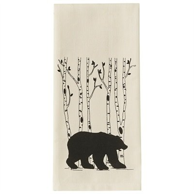Bear and Birch Tree Tea Towel