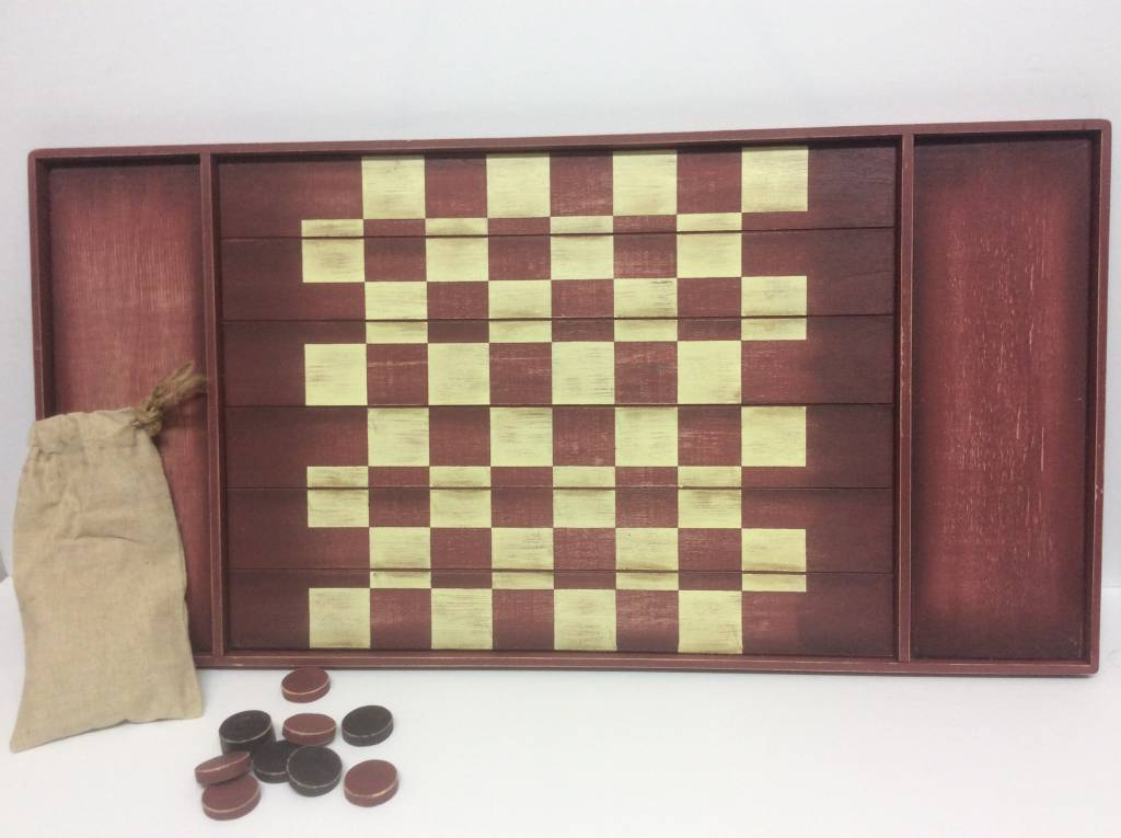 Checkerboard Game with Game Pieces