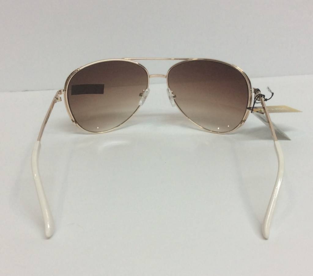 Gold & white sunglasses with case