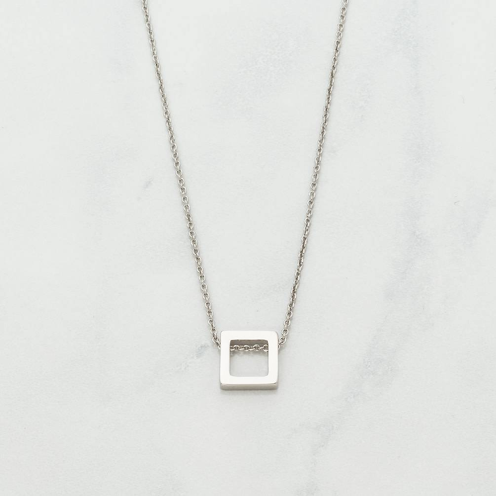 Thick Square Necklace - Silver