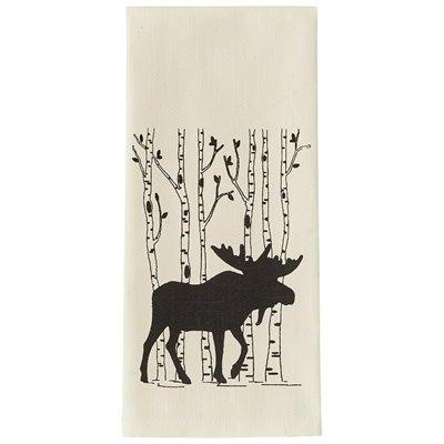 Moose and Birch Tea Towel