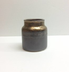 Small Brown Crock w/ Gold Rim