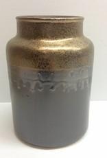 Large Brown Crock w/ Gold Rim