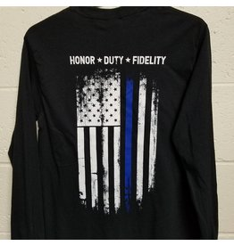 Long Sleeve Thin Blue Line Black Flag Shirt