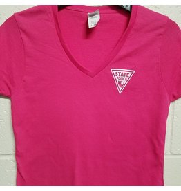 Ladies V Neck Cotton Tee - Pink