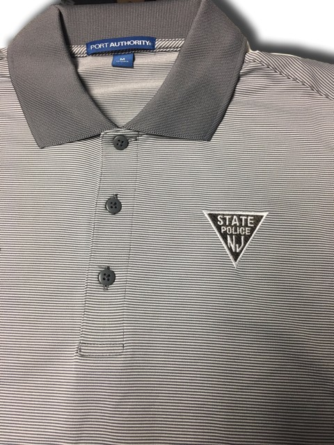 K558 White Shadow Grey Stripe Polo