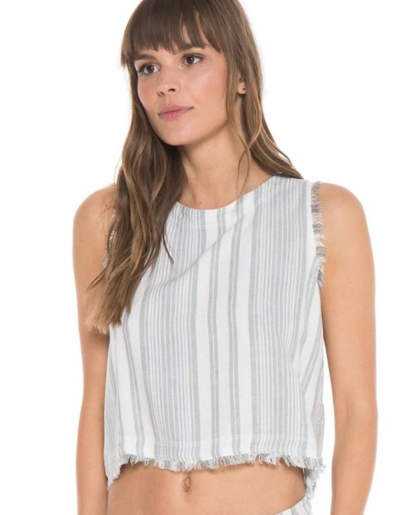 Tops bella dahl - Fray Button Back Tank in Soft Olive