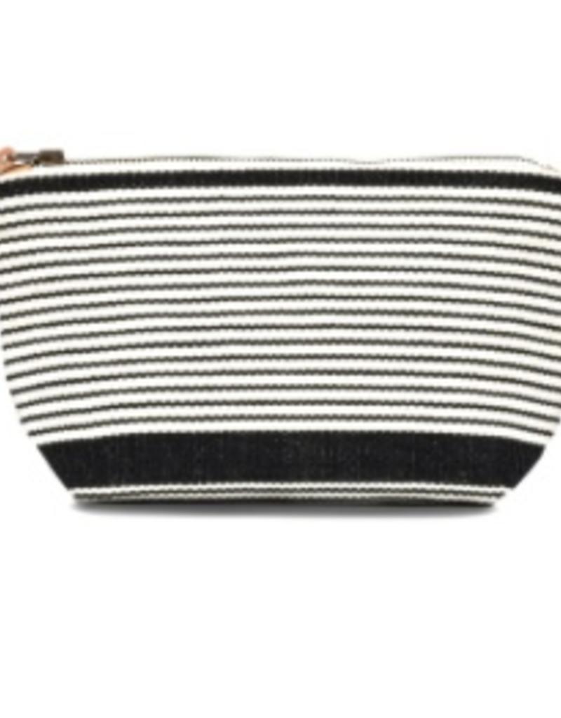 Bags Mercado Global - Mini Cristina Cosmetic Pouch in Black Stripe
