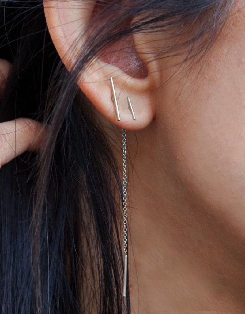 Earrings Chan Luu - Silver Bar Chain Thread Earrings