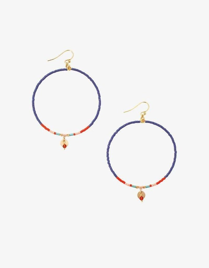 Earrings Chan Luu - Blue Mix Hoop Earrings