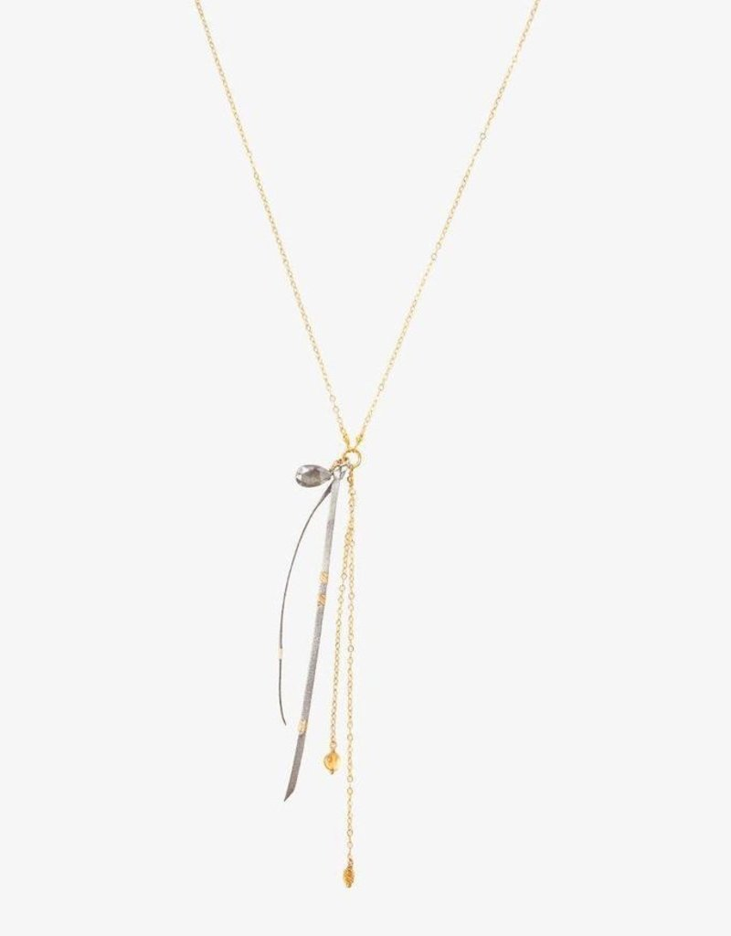 Necklaces Chan Luu - Grey Mix & Leather Tassel Y Necklace