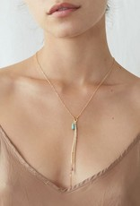 Necklaces Chan Luu - Turquoise Mix & Leather Tassel Y Necklace