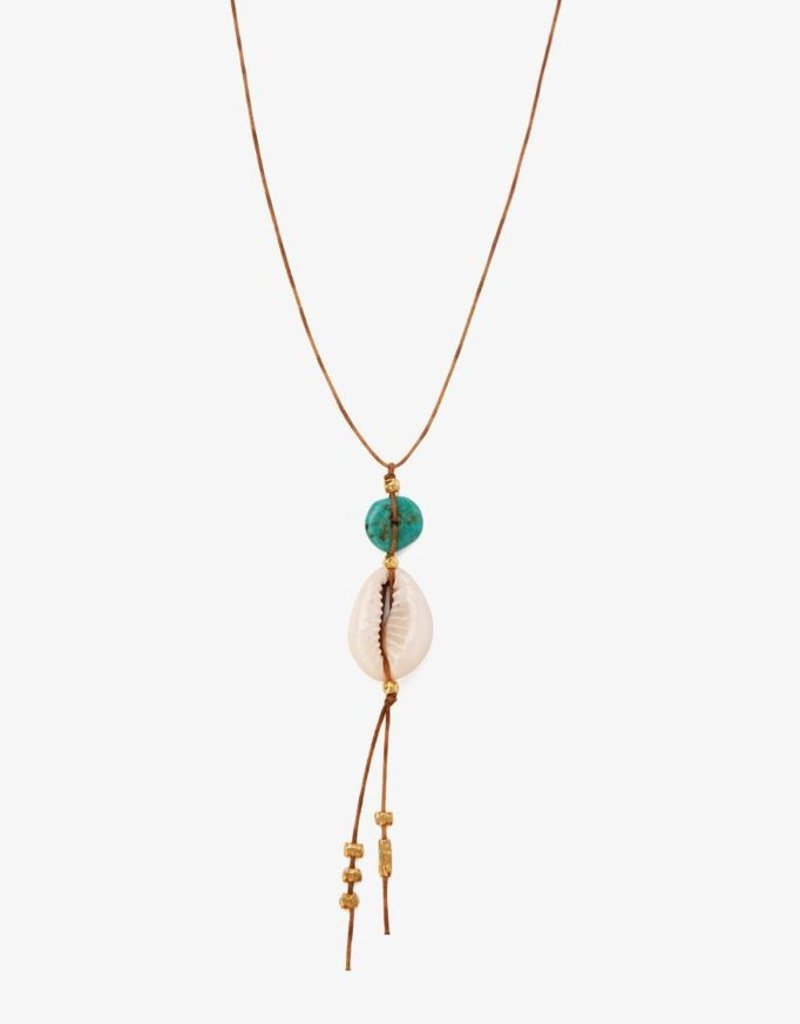 Necklaces Chan Luu - Turquoise Stones & Cowry Shell Long Necklace