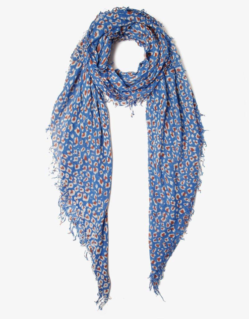 Scarves Chan Luu - Palace Blue Leopard Print Cashmere And Silk Scarf