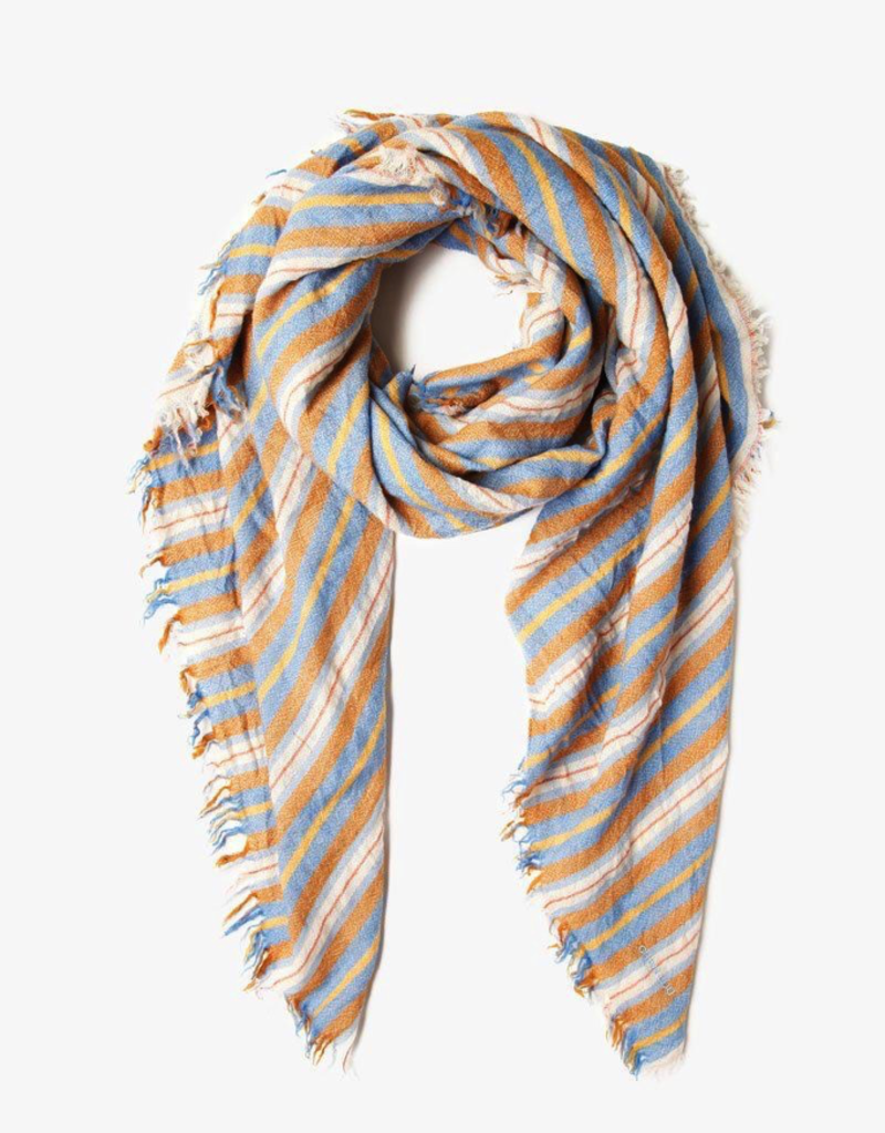 Scarves Chan Luu - Palace Blue Stripe Print Wool Scarf
