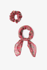 Accessories Chan Luu - Meadow Mauve Floral Print 2-In-1 Scrunchie With Bandana