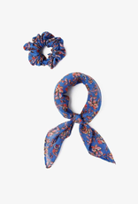 Accessories Chan Luu - Palace Blue Floral Print 2-In-1 Scrunchie With Bandana