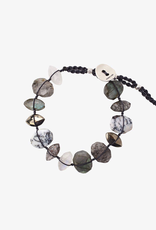 Bracelets Chan Luu - Labradorite Mix Single Wrap Bracelet On Charcoal Cord