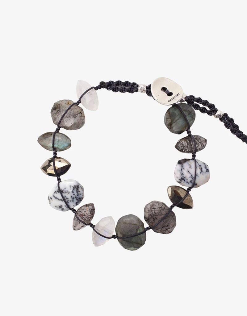 Bracelets Chan Luu - Labradorite Mix Single Wrap Bracelet On Charcoal Cord