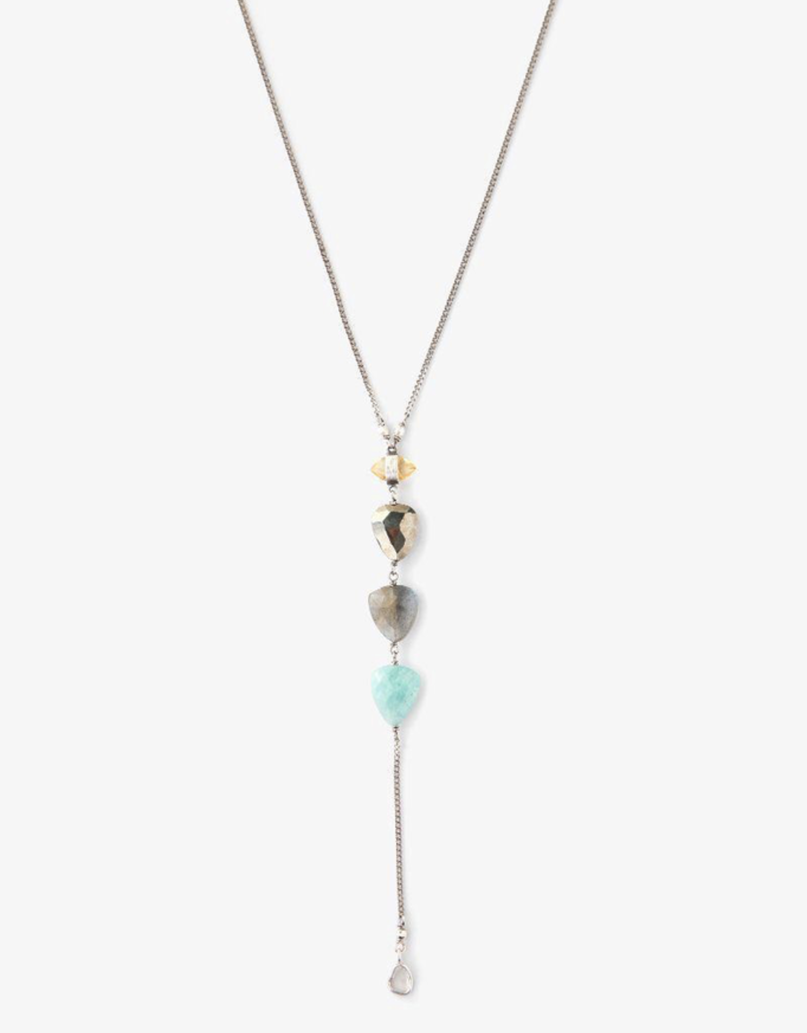 Necklaces Chan Luu - Tiered Amazonite Mix Y Necklace