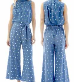 Tops bella dahl - S/L Mock Neck Button Back Blouse in Polka Dot Print