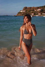 Swimwear Vitamin A - Gia Reversible Triangle Top in Vichy Black