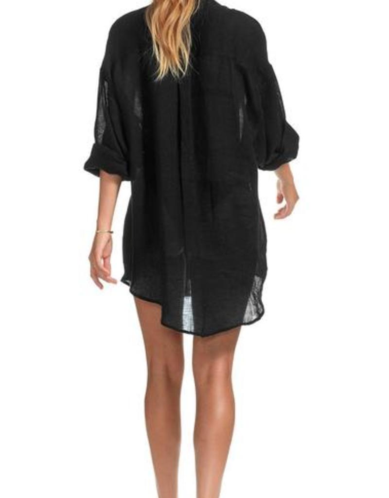 Cover Up Vitamin A - Playa Vee Shirt Dress in Black EcoLinen Gauze