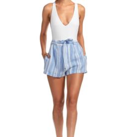 Shorts Vitamin A - Sonia Linen Short in Cala Stripe Mediterranean Blue