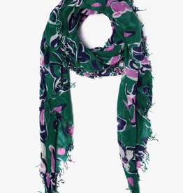 Scarves Chan Luu- Verdant Green Painterly Floral Cashmere And Silk Scarf