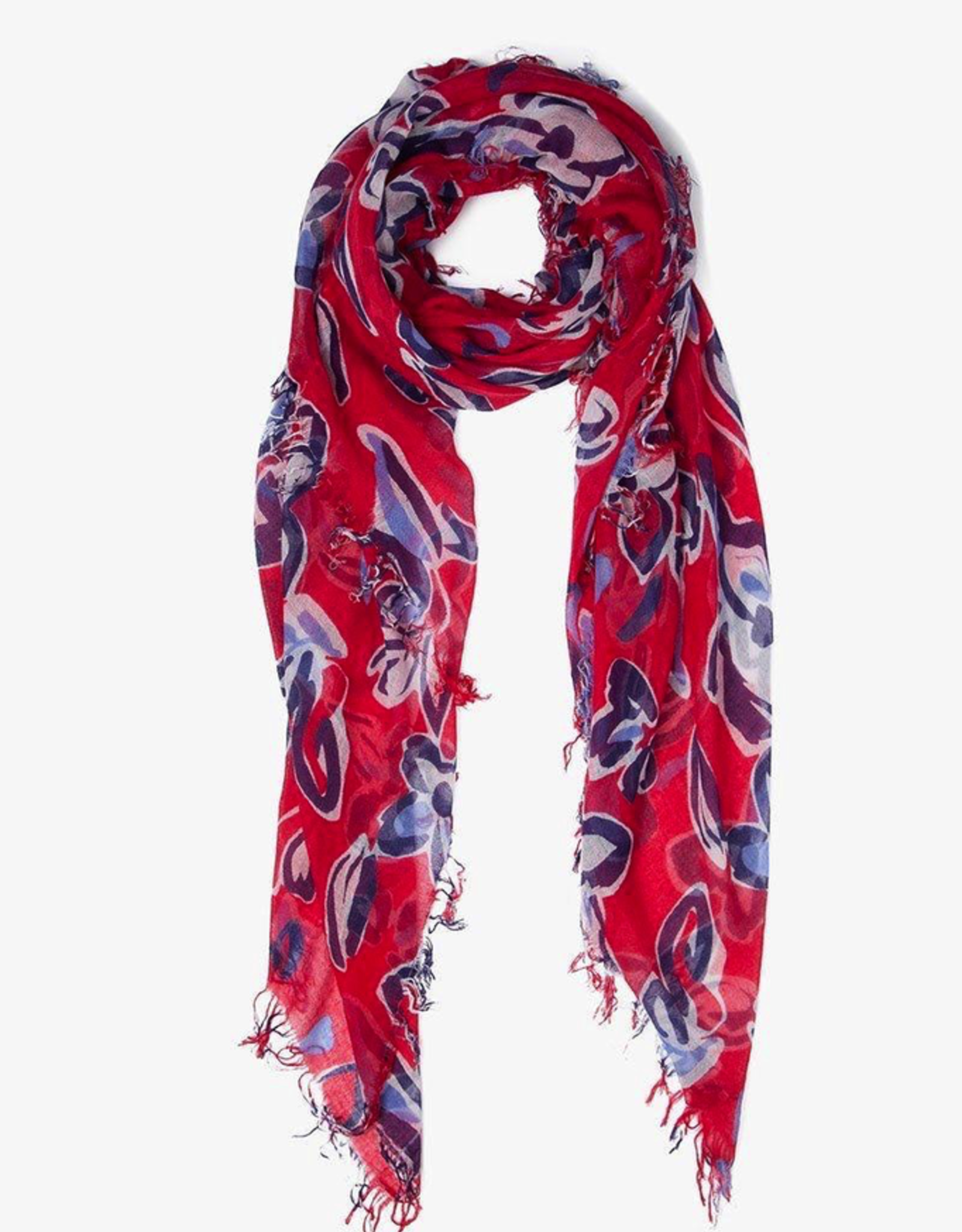 Scarves Chan Luu - Barbados Cherry Painterly Floral Cashmere And Silk Scarf