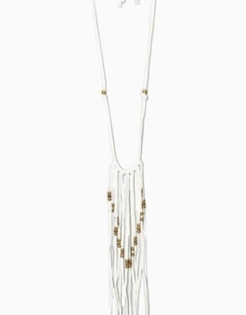 Necklaces Turquoise & Tobacco - Deer Skin Leather Fringe Necklace