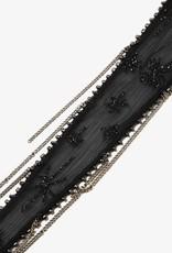Scarves Chan Luu - Black Embroidered Starburst Long Skinny Scarf