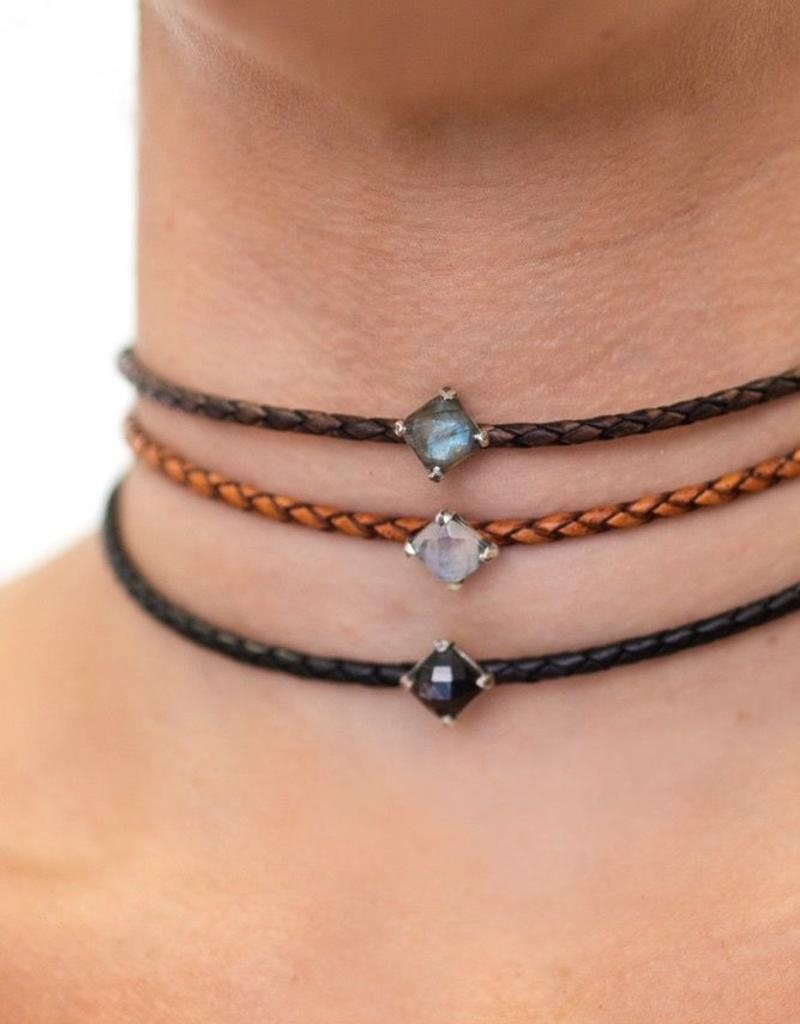 Necklaces Chan Luu - Moonstone Choker on Light Brown Leather