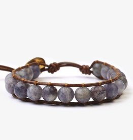 Bracelets Chan Luu - Matte Iolite Mix Stone Single Wrap Bracelet on Henna Leather