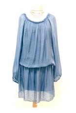 Steel Blue Silk Mini Dress
